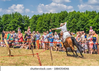 Cedynia, Poland June 2019 Mounted archery or horseback archery with flying arrow at historical reenactment of Battle of Cedynia from 11th century