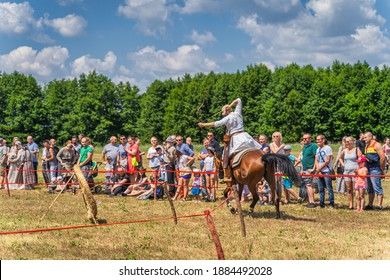 Cedynia, Poland June 2019 Mounted archery or horseback archery show at historical reenactment of Battle of Cedynia from 11th century