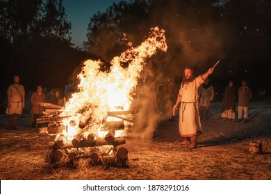 Cedynia, Poland, June 2019 Pagan reenactment of Kupala Night, called in Poland Noc Kupaly. Slavic holiday celebrated on the shortest night of the year