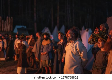 Cedynia, Poland, June 2019 Pagan reenactment of Kupala Night, called in Poland Noc Kupaly, villagers gathering for the event. Slavic holiday celebrated on the shortest night of the year
