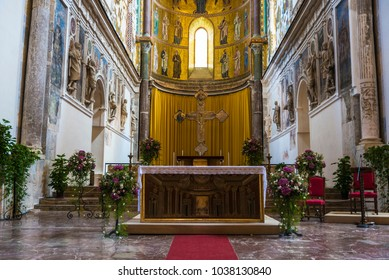 Cefalu, Italy - August 8, 2017: Altar of the cathedral of Cefalu, of style called Sicilian Romanesque, in Sicily, Italy
