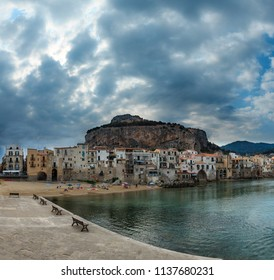 CEFALU, ITALY - JUNE 18, 2017: old beautiful town beach and harbor view, Palermo region, Sicily.