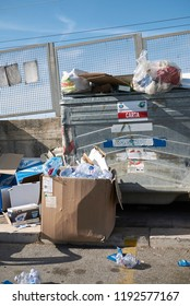 Cefalu, Italy - September 09, 2018 : garbage and bins in the street