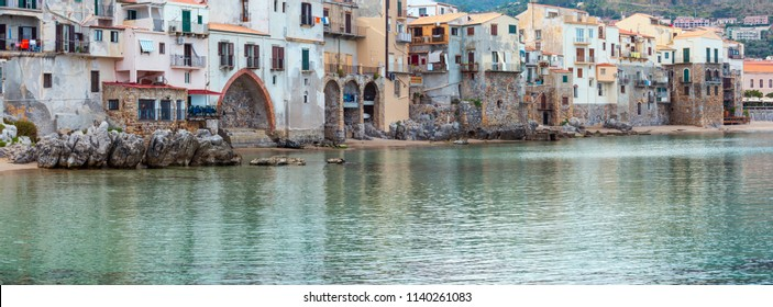 Cefalu old beautiful town beach view, Palermo region, Sicily, Italy.