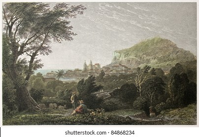 Cefalu old view, Sicily. Created by De Wint and Heath, printed by McQueen, publ. in London, 1821. Ed. on Sicilian Scenery, Rodwell and Martins, London, 1823