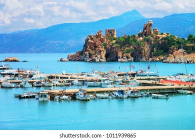 Cefalu port and Old castle ruins in the Mediterranean sea, Palermo region, Sicily island in Italy