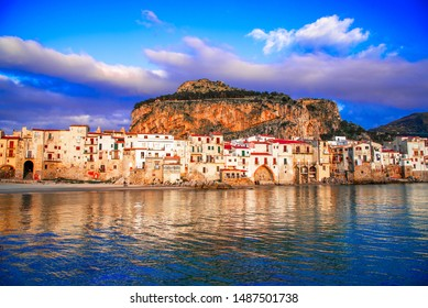 Cefalu, Sicily, Italy: Ligurian Sea and medieval city Cefalu.Province of Palermo, Italy.
