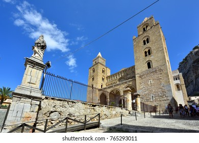 CEFALU, SICILY, ITALY - SEPTEMBER 03, 2017: Cefalu Old Town Cathedral Square