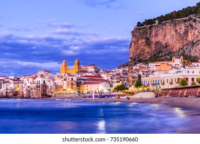 Cefalu, Sicily. Ligurian Sea and medieval sicilian city Cefalu. Province of Palermo, Italy.