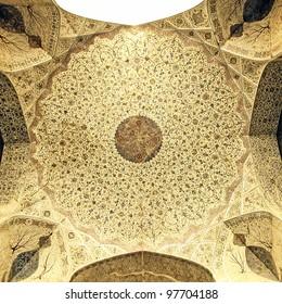 Ceiling of Ali Qapu at Naqsh-e Jahan Square in Isfahan, Iran.