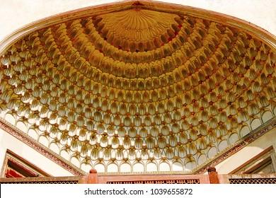 Ceiling carvings, Baradari, The Bibi-Ka-Maqbara. Aurangabad, Maharashtra