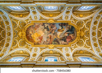 The ceiling of the Church of Saint Louis of the French in Rome, Italy. November-18-2017