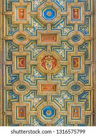Ceiling of the Church of Santo Spirito in Sassia, in Rome, Italy. February-14-2018