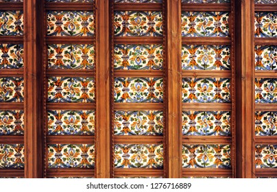 Ceiling coffered of two tiles per board (dos por tabla) and wooden beams, Cartuja of Seville, Andalusia, Spain