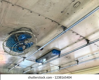 Ceiling fan in a bus in Thailand. A bus is one of a mass transport system in Bangkok, Thailand