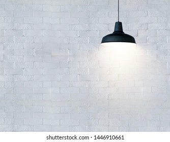 Ceiling Fixture on white brick wall background.