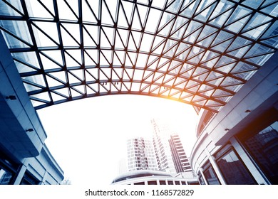 Ceiling glass roof of modern office building.