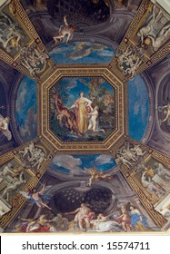 Ceiling in hall. Vatican museums.