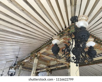 ceiling interior house traditional joglo in java. yogyakarta indonesia. june 20, 2018