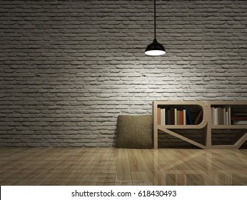 Ceiling lamp with bookcase on wooden floor and white bricks wall.
