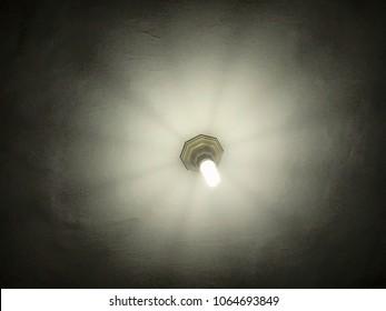 Ceiling lamp in the dark room