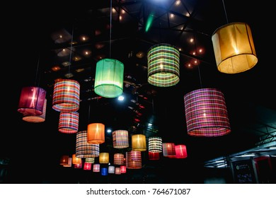 Ceiling lantern made from bamboo weave Asian style. natural interior inspiration. nature art decoration concept. image for background, wallpaper, objects and copy space.Vintage night film grain Style.