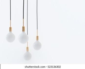 Ceiling light bulbs on white background