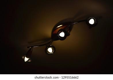 ceiling light with LED bulb, South Bohemia, Czech Republic