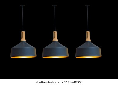 Ceiling lights and black decorations