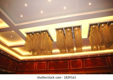 Ceiling lights in the hotel