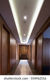 ceiling in a luxury apartment hallway with fancy mirror
