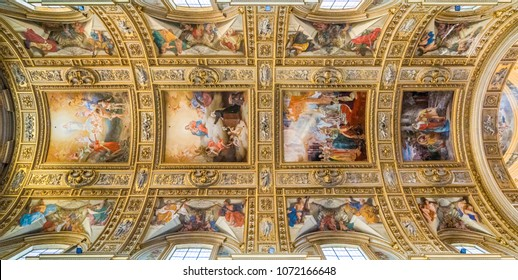 The ceiling of the main nave in the Basilica of Sant'Andrea della Valle in Rome, Italy. November-18-2017