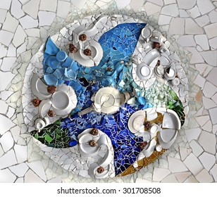Ceiling Mosaic in the Hypostyle Room at Park Guell, Barcelona, Spain.