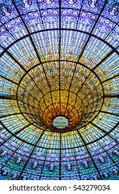Ceiling in Music Palace, concert hall designed in the Catalan modernista style. Interior of Palace of Catalan Music