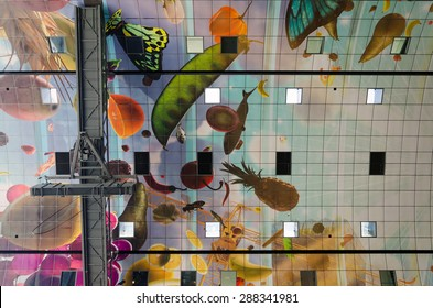 Ceiling of the new artistic Markthal in Rotterdam, The Netherlands.