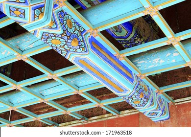 ceiling paint, Chinese traditional landscape architecture, closeup of photo