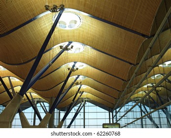 ceiling and roof construction at a terminal in the madrid airport