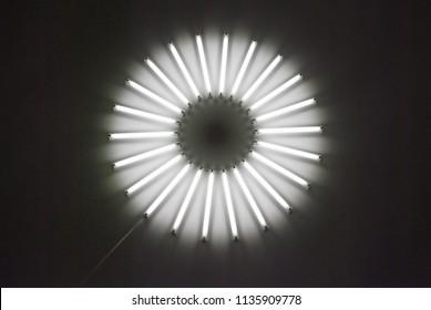 Ceiling round lighting light lamp neon tubes circle glowing in dark room