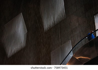 ceiling with a sculpture of kinetic art