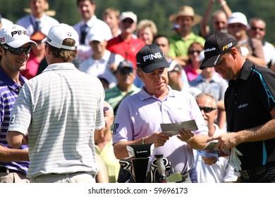 CELADNA, CZECH REPUBLIC - AUGUST 22: Miguel Angel Jimenez (SPA) and Peter Hanson at the Czech Open, European Golf Tour,  August 22, 2010, in Celadna Prosper Golf resort,  Czech Republic