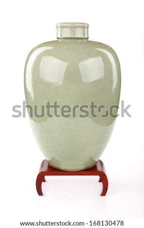 Celadon Ceramic Vase On Stand Celadon Vase Thai Stock Photo Edit