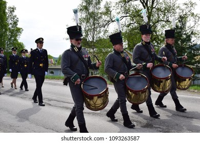 Celebrate 17th May with parade live music instruments - Constitution day - Kongsvinger, Norway (18th May 2018)