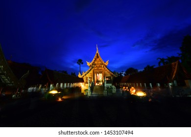 Celebrate Asalha Bucha At Wat Ton Kain (Ton Kain Temple), Old temple made from wood   in Chiang Mai Thailand .