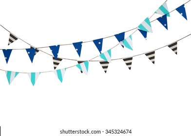 Celebrate banner. Party flags blue, black and white on a white background.