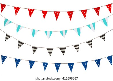 Celebrate banner. Party flags blue, brown, Red and white on a white background.