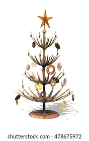 Celebrate Christmas Steampunk style with this metallic grunge Christmas tree - 3d render.