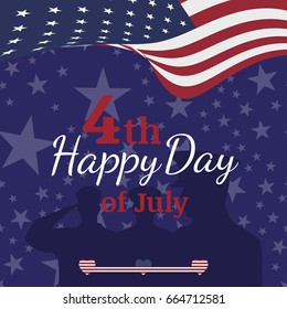 Celebrate Happy 4th of July - Independence Day. Congratulatory banner with combination of fonts.