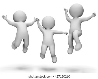 Celebrate Happy Showing Jubilant Jumping And Cheerful 3d Rendering
