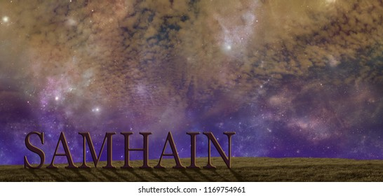 Celebrate Samhain summers end background - warm coloured starry cloudy autumnal night sky background with a simple grassy hilltop and the word SAMHAIN  and copy space above