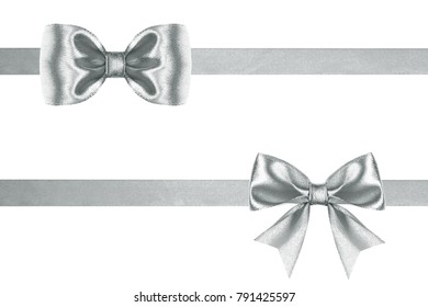 Celebrate silk silver two ribbons and bows on a white background